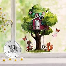 Window Decal Tree House Otter Squirrel With Butterflies Window Stickers Reusable Self Adhesive For Kids Bf116 Wall Decals Bumper Sticker Murals Bags Cups Backpacks And Many More At Www Deinewandkunst Com