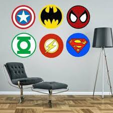 Superhero Logos Badges Wall Sticker Boys Bedroom Decal Etsy