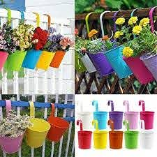 10 Pcs Hanging Planters Metal Iron Hanging Flower Pot Balcony Garden Plant Planter Balcony Garden Pots Metal Bucket Flower Holders For Wall Vase Fence Window Patio Home Decoration Supplies Amazon Co Uk Garden