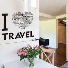 I Love Travel Wall Art Mural Poster Decor Airplane Heart Shape English Words Wall Quote Decal Sticker Home Decor Wall Applique Wall Appliques Wall Quotesstickers Home Decor Aliexpress