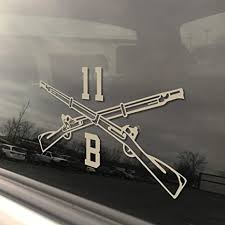 Amazon Com Army Mos 11b Infantry Crossed Rifles Decal 8 Colors Available Free Lifetime Replacement 3 X 5 Heavy Duty Die Cut Vinyl Veteran Bumper Sticker Rain Fade And Scratch Resistant Tan Arts