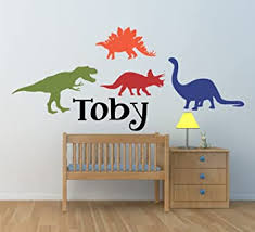 Dinosaur Wall Decal For Kids Bedroom Personalized Name Kids Room Decals Boys Name Decals Playroom Decals Dino Decals Dinosaur Name M42 Plus Free 12 White Hello Door Decal With Purchase