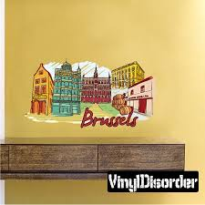 Famous City Brussels Wall Decal Vinyl Car Sticker Uscolor043 25 Inches Walmart Com
