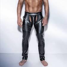 fashion mens black faux leather pants