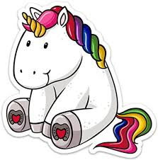 Amazon Com Unicorn Sticker Decal Fat Cute Colorful Large 5 X 5 For Laptop Water Bottle Arts Crafts Sewing