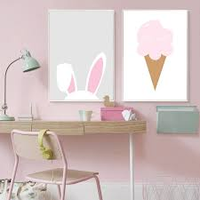 Cute Pink Rabbit Ears Wall Art Little Princess Love Quote Posters For Nordicwallart Com