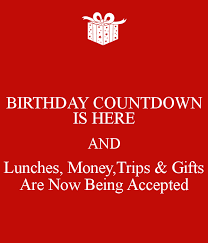 birthday countdown is here and lunches