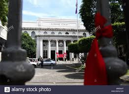 May 11 2018 Philippines Red Ribbons Tied Around The Supreme Court Fence By Supporters Of The