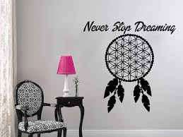 Never Stop Dreaming Wall Decal Quotes Dream Catcher Wall Sticker Dreamchtcher Vinyl Sticker Living Room Home Decor Mural S 562 Decoration Murale Wall Decals Quoteswall Sticker Aliexpress