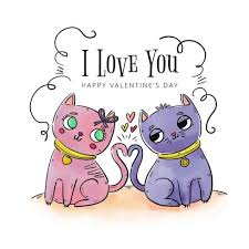cute couple cat in love to valentine s