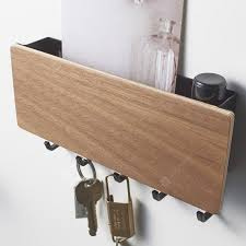 japanese style wood key storage wall