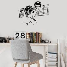 Volleyball Player Wall Decal Girl Bedroom Sports Room Decoration Art Vinyl Wall Stickers Beach Style Removable Mural S752 Wall Stickers Aliexpress
