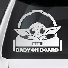 Sticker Baby Yoda 1 On Board English Muraldecal Com