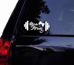 Barbell Mom Strong Decal With Girly Bow Vinyl Gym Fitness Etsy