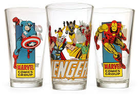 marvel comics pint glasses with images