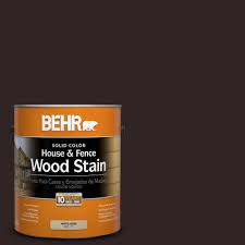 Behr 1 Gal Sc 104 Cordovan Brown Solid Color House And Fence Wood Stain 03001 The Home Depot Staining Wood Exterior Wood Stain Staining Deck