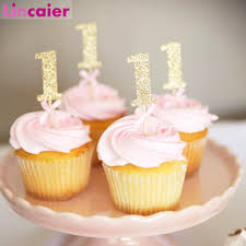 10 Uds Papel Brillante 1 Cupcake Toppers 1st Decoraciones Para Fiesta De Cumpleanos Primer Bebe Nino Nina My 1 Ano Suministros Aliexpress