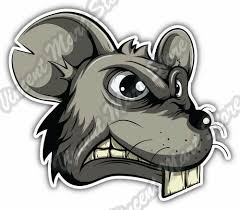 Angry Mouse Head Rat Mice Funny Cartoon Car Bumper Vinyl Sticker Decal 5 X4 For Sale Online Ebay