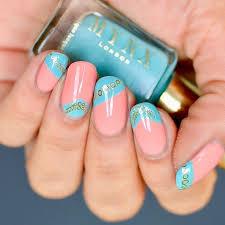 blue and peach summer nails sonailicious