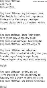 Hymn and Gospel Song Lyrics for Sing to Me of Heaven by Ada Powell