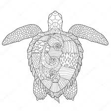 Adult Antistress Coloring Page With Turtle Stock Vector
