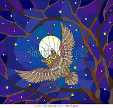 stained glass style painting owl