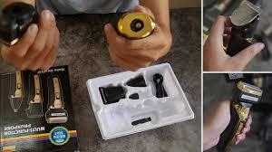 Review máy cạo râu multifunction với lưỡi dao kép 2 vòng kèm tông đơ cắt  tóc cắt và lông mũi - YouTube