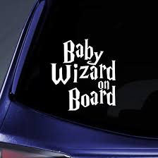 Amazon Com Baby Wizard On Board Sticker Decal Notebook Car Laptop 5 5 White Automotive