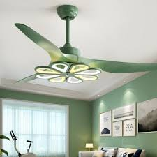 Acrylic Green Led Semi Flushmount Flower 52 Wide 8 Lights Kids 3 Blades Ceiling Fan Lamp For Living Room Beautifulhalo Com
