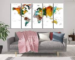 Amazon Com Framed Push Pin Travel Map Wall Art Canvas Print Multi Panel 5 Pieces For Kids Room Wall Decal Abstract Map Of The World With Country Names Hr21 Handmade