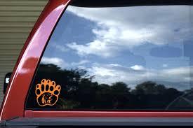 3 75in X 4in Orange And Black Bear Paw Sticker Stickertalk