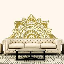 Half Mandala Wall Decal Headboard Decor Lotus Flower Mandala Etsy