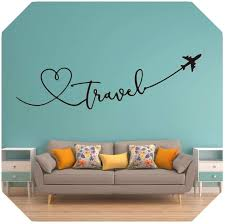 Amazon Com Favorite Fv Room Or Party Large Travel Say Airplane Heart Wall Sticker Kids Room Bedroom Travel World Plane Sky Wall Decal Living Room Office Vinyl Nude 131cmwidex40cmhigh Home Kitchen