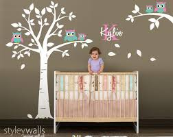 10 Off Coupon On Owl Wall Decal Owls Tree Wall Decal Nursery Wall Sticker Kids Baby Room Wall Decal Owls On Branch Personalized Custom Name And Initial Decal By Styleywalls Etsy