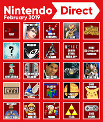 Nintendo Direct Bingo Card (Feb 2019 ...