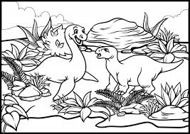 Kleurplaat Van Cartoon Dinosaurus Wereld Premium Vector