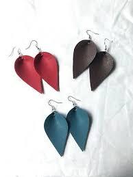 faux leather leaf earrings lot rustic