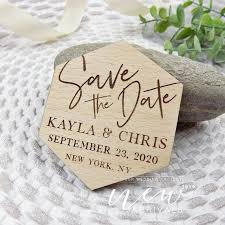 geometric save the date magnet wood
