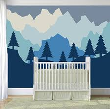 Amazon Com Forest And Mountains Baby Girl Boy Nursery Wall Decal For Baby Room Decorations Mural Wall Decal Sticker For Home Children S Bedroom J115 Wide 55 X43 Height Baby