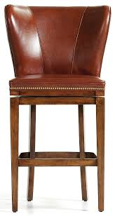 brown leather high back bar stool
