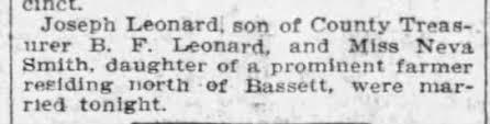 Marriage of Joseph Leonard and Neva Smith - Newspapers.com