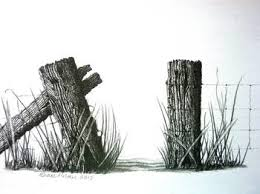 Farm Fence Gateway Pencil Drawing By Diane Palmer