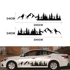For Suv Rv Camper Off Road Black Tree Mountain Car Decal Forest Car Sticker 200x34cm 1 Pair Car Stickers Aliexpress