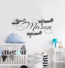 Name Wall Decals Plane Wall Decal Boy Nursery Wall Decal Etsy