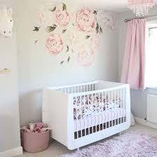 Nursery With Peony Wall Decals Girl Nursery Room Baby Girl Nursery Room Nursery Baby Room