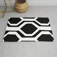 black and white geometric rug by