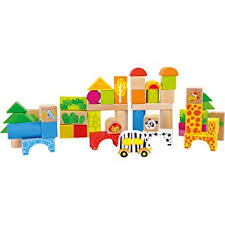 "Wooden Building Blocks ""Zoo"": Amazon.co.uk: Toys & Games"