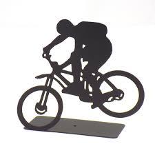 bike rider rear wheel up sculpture