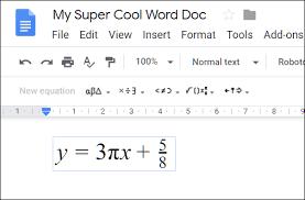 equation editor in google docs