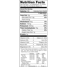 nutritional facts for a small bag of